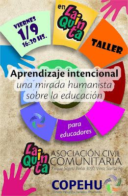 """Taller """"Aprendizaje intencional. Una mirada humanista sobre la educación"""". Vera, Santa Fe"""