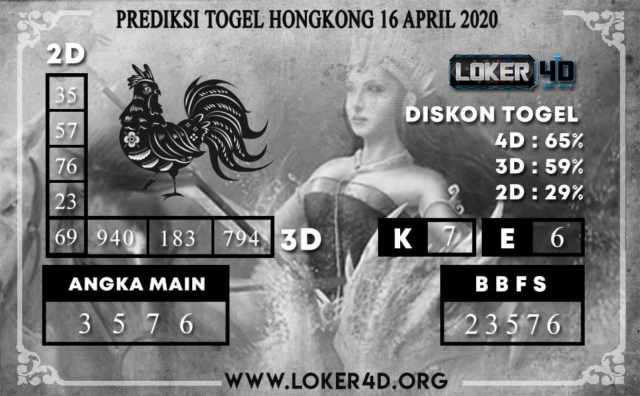 PREDIKSI TOGEL HONGKONG LOKER4D 16 APRIL 2020