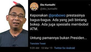 Apes! Eko Kuntadhi Hapus Tweet Keponakan Prabowo Jadi Bintang B0kep, Tapi Jejak Digital Masih Ada
