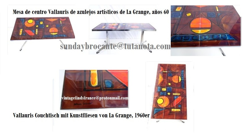French Vallauris Art Tiles Coffee Table by La Grange, 1960s, Vallauris Couchtisch mit Kunstfliesen von La Grange, 1960er