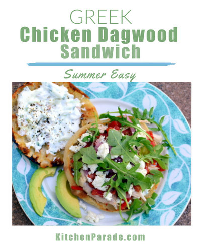 Greek Chicken Dagwood Sandwiches ♥ KitchenParade.com, easy summer sandwiches with rotisserie chicken, a cucumber and feta tzatziki, roasted pepper, more feta, fresh arugula, summer tomato.