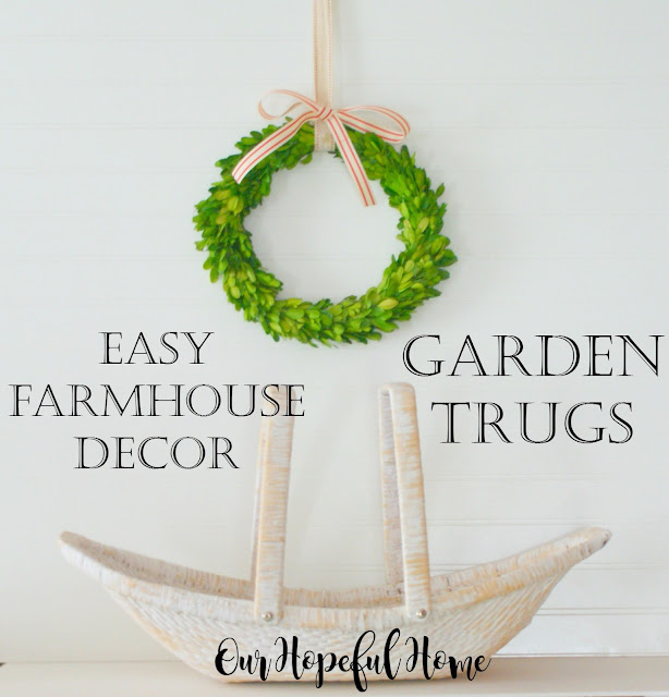 farmhouse decor decorating white garden trug