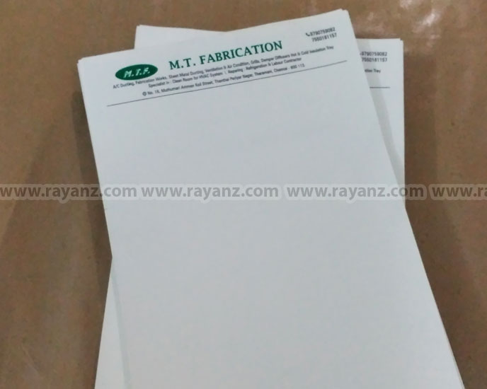 A4 Letterheads offset single color printing services in Chennai.