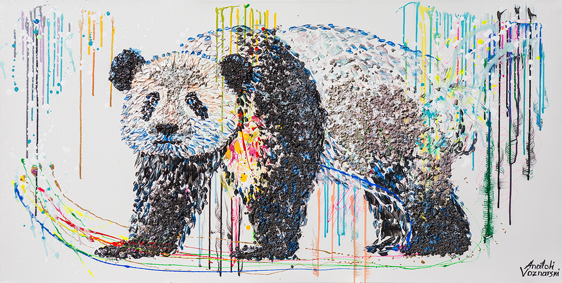 panda  acrylic painting, panda dot, heavy textured panda painting, unique panda painting on canvas, anatoli panda, anatoli voznarski panda, panda wall painting, abstract panda painting, animal painting,office painting, modern panda, panda mixed