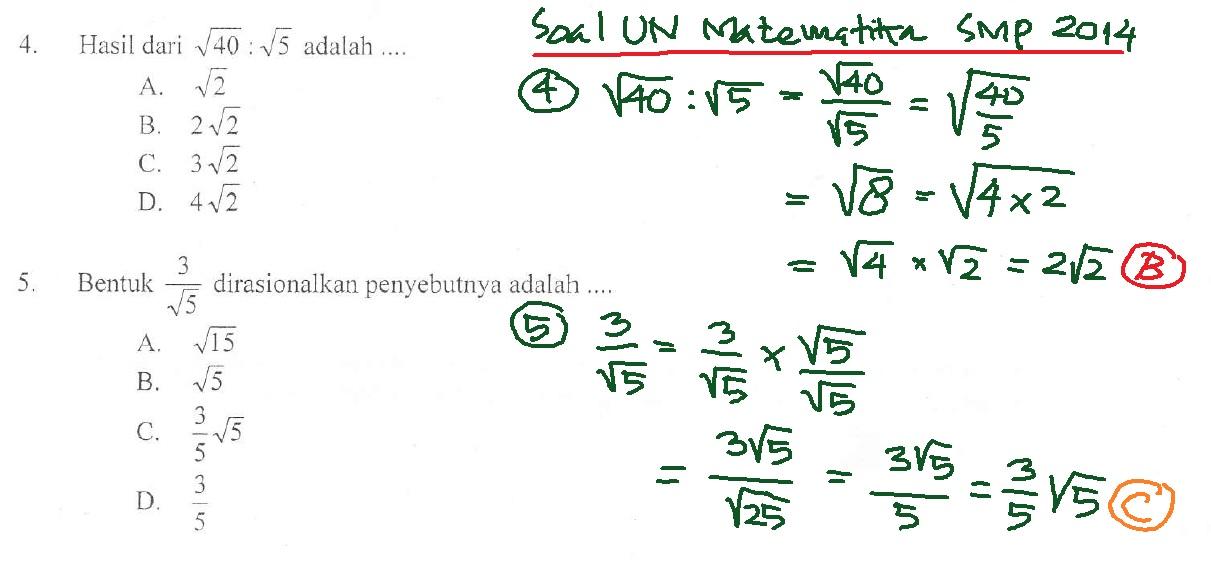 Matematika Dasar Bentuk Akar Soal Un Smp Dan Pembahasan Defantri Com