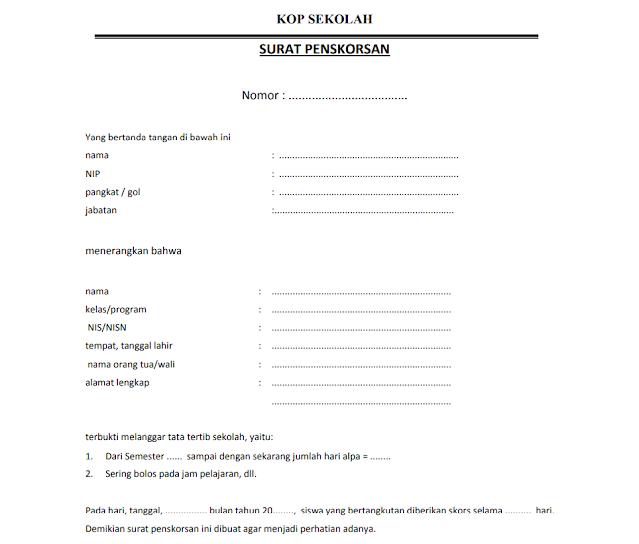 Contoh Surat Penskorsan Siswa Sekolah