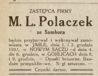 Jasło Gorlice sztuczne nogi 1932