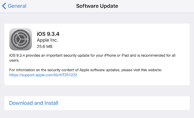 Apple has released iOS 9.3.4 to the public for the iPhone, iPad, and iPod touch which provides an important security update for your iPhone or iPad and is recommended for all users. It has also been confirmed to patch the Pangu iOS 9.3.3 jailbreak.