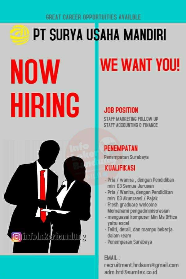 Lowongan Kerja PT. Surya Usaha Mandiri Bandung Maret 2021
