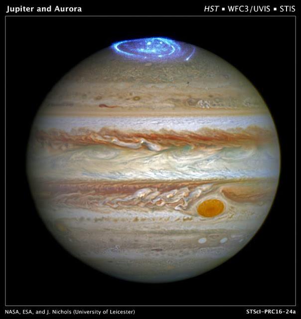 Auroras polares registradas em Júpiter