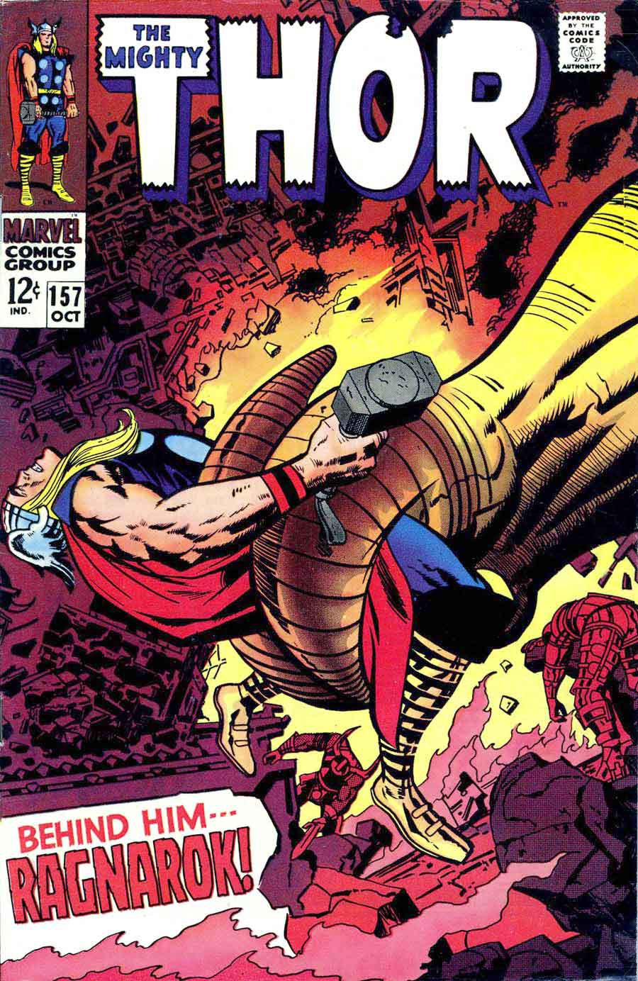 Thor v1 #157 marvel 1960s silver age comic book cover art by Jack Kirby