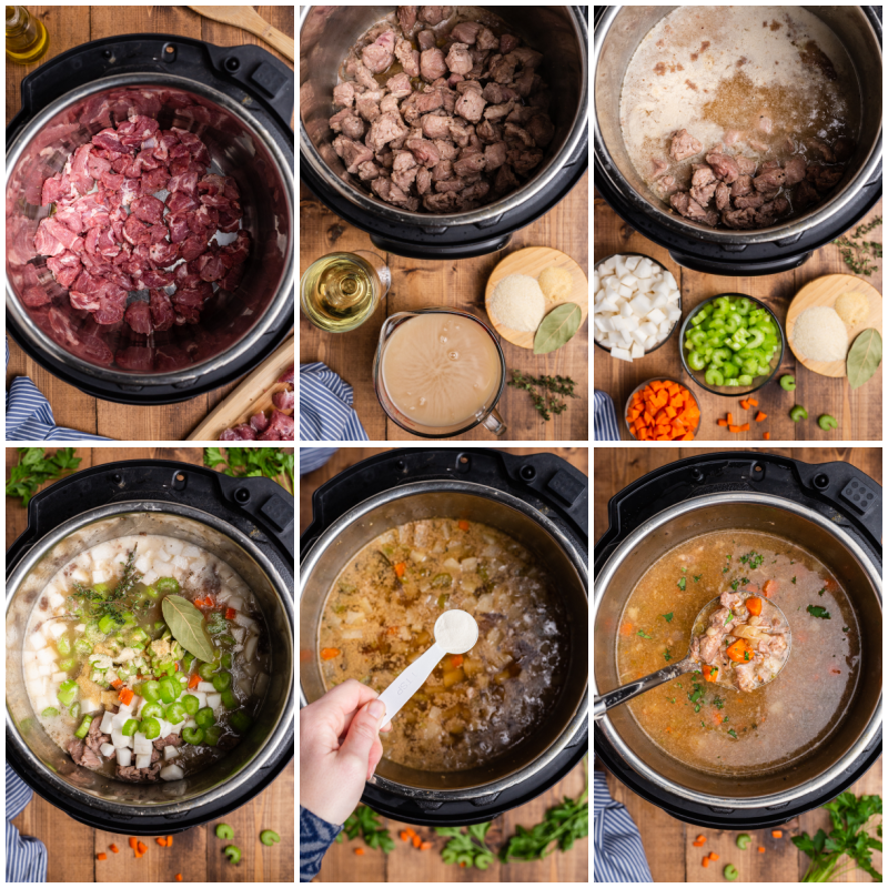 Six photos of the process of making Low Carb Instant Pot Pork Stew.