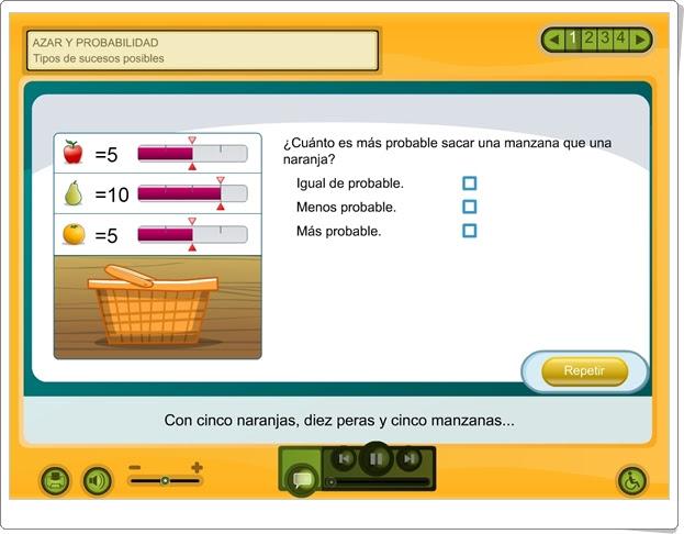 """Azar y probabilidad: """"Tipos de sucesos posibles"""" (Aplicación interactiva de Matemáticas de Primaria)"""