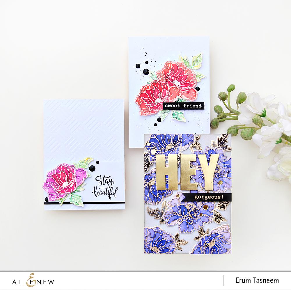 Altenew Beautiful Peony Stamp Set | Watercolour Brush Markers | Erum Tasneem | @pr0digy0