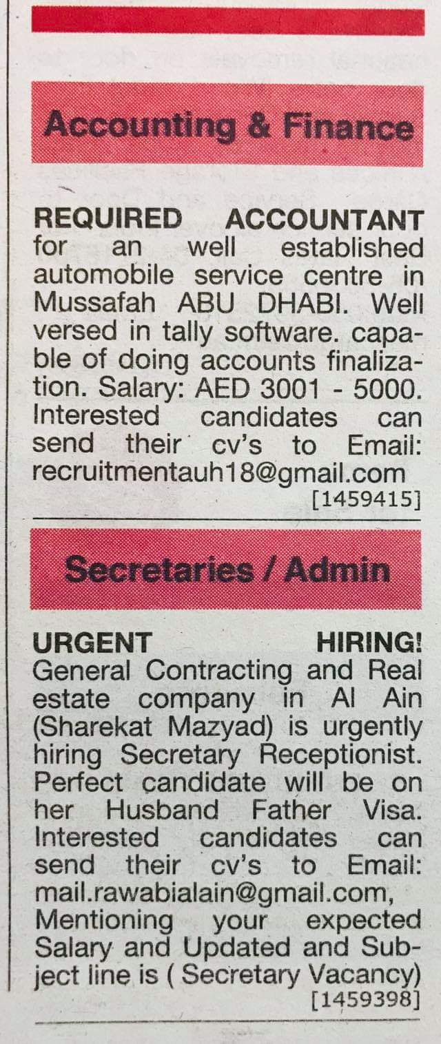 Required Accountant, Secretary Receptionist for UAE JOBS Local