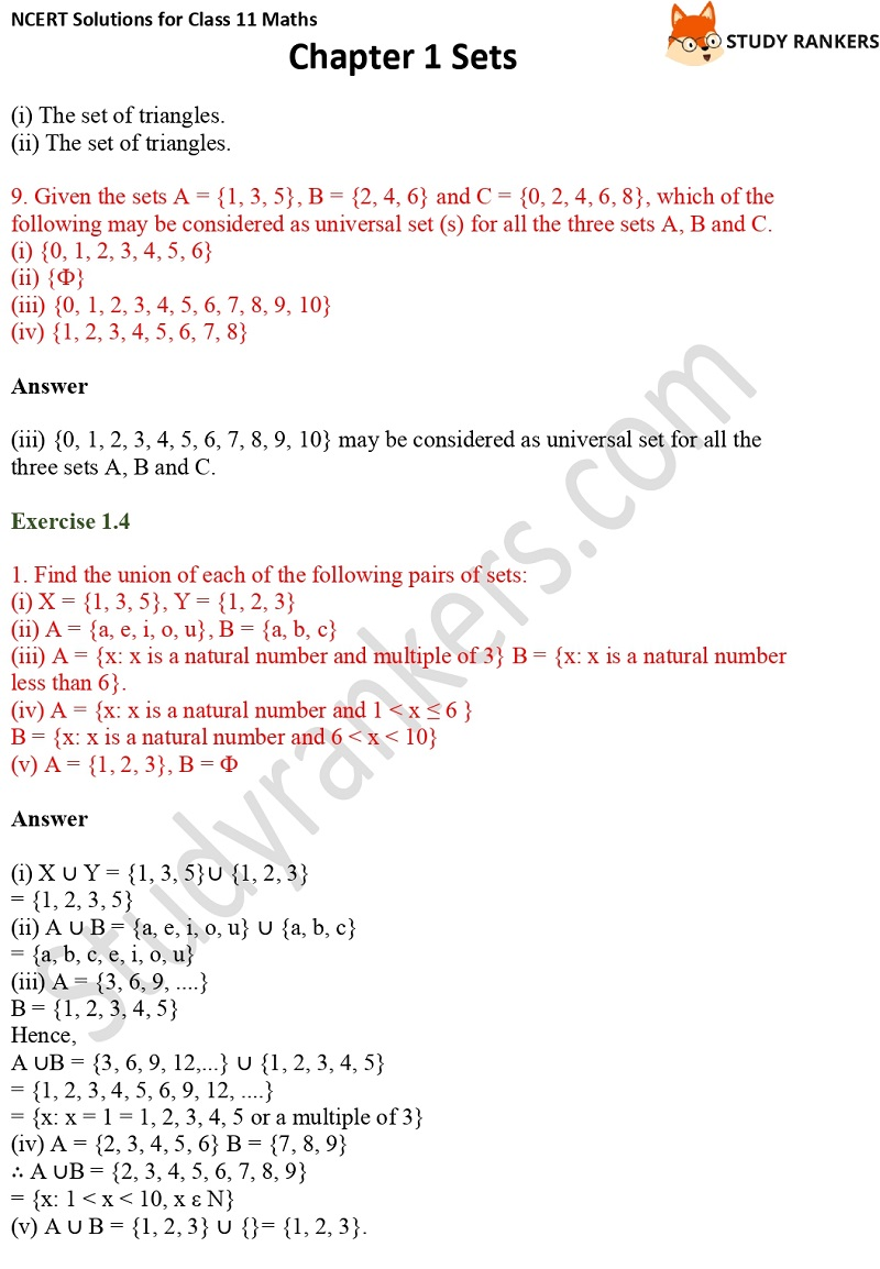 NCERT Solutions for Class 11 Maths Chapter 1 Sets 9
