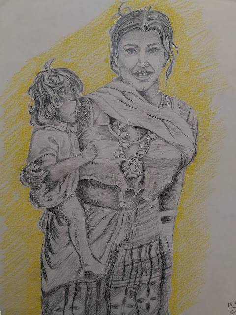 Mother and son pencil drawing