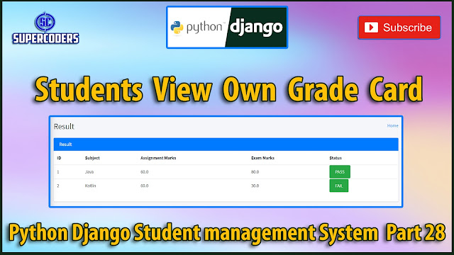 Python Django Student Management System Part 28 | Students View Their Own Result