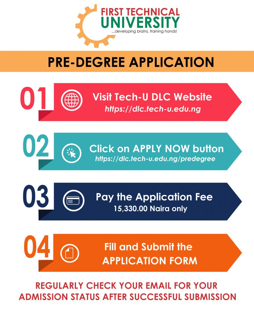 First Tech-U Pre-Degree Admission Form 2020/2021