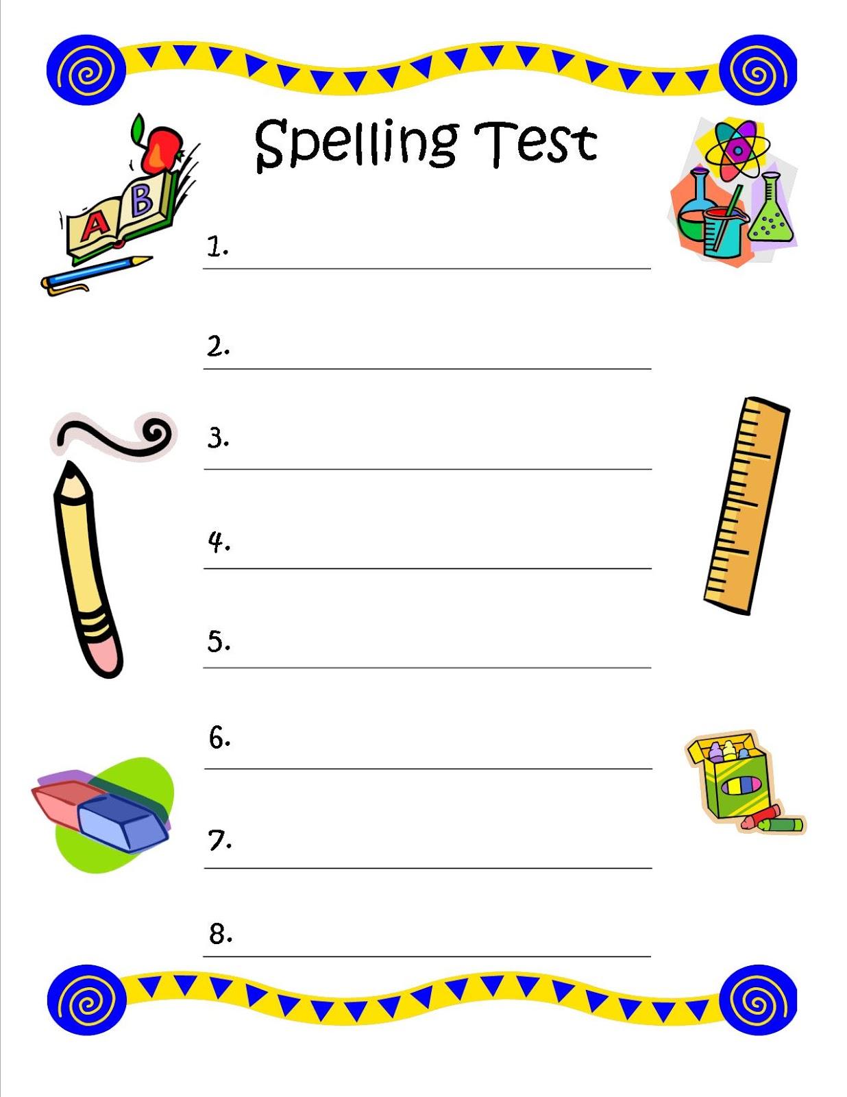 Free Printable Spelling Test Maker