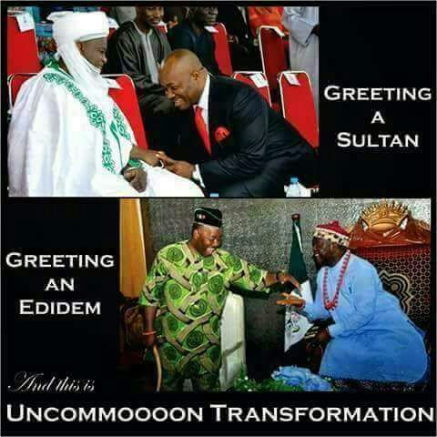 These photos of Akpabio and Wike greeting traditional rulers have gone viral