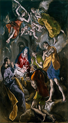 El Greco (Δομήνικος Θεοτοκόπουλος)  Η Προσκύνηση των Ποιμένων (περ. 1605-1610)  από τον Ελ Γκρέκο. Μουσείο Prado, Μαδρίτη