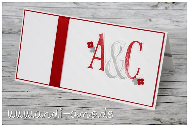 Karte zur Hochzeit in Rot-Weiss andi-amo