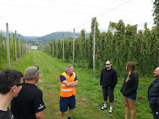 Dr. Ron Beatson in a field of New Zealand hops.