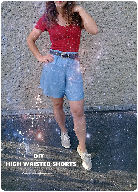 thrift flip / transforming old dress into hagh waisted shorts / jak uszyć spodenki