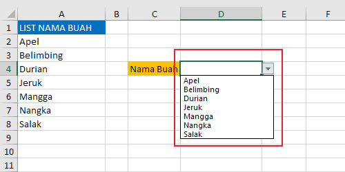 Contoh pilihan dropdown list excel dengan referensi range