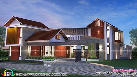 Contemporary mix house with plan by Ar.Jithin K