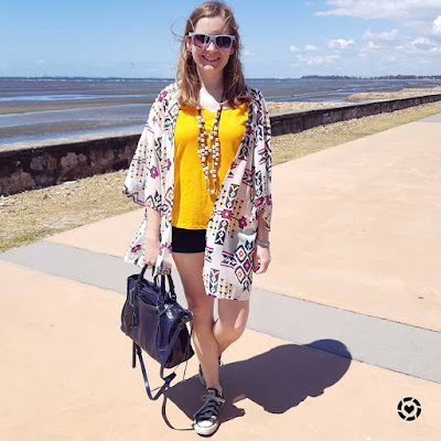 awayfromtheblue Instagram | digital print kimono, marigold bright tee statement necklace shorts and converse spring style