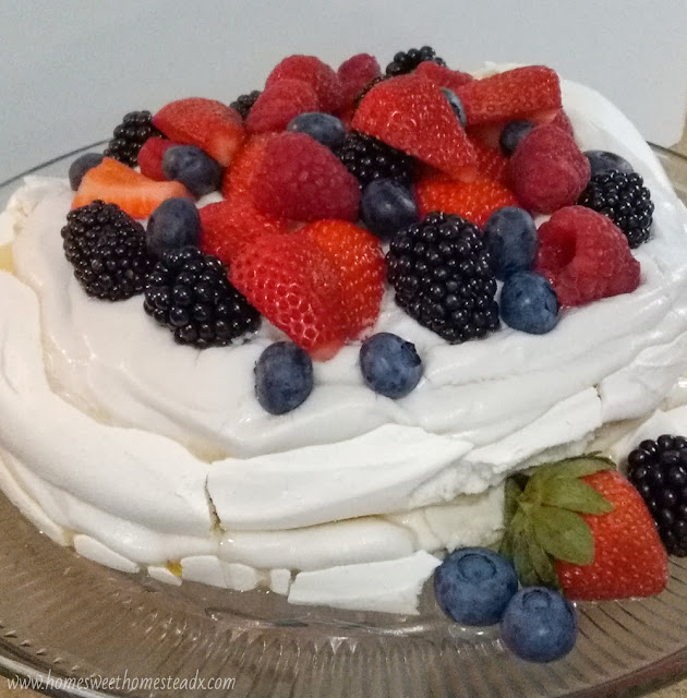 Home Sweet Homestead Summer Berries Pavlova Cake #SummerDessertWeek Crispy on the outside, marshmallow-y soft on the inside meringue, coconut whipped cream, and fresh summer berries come together to make a deliciously beautiful dessert, that couldn't be easier to make!