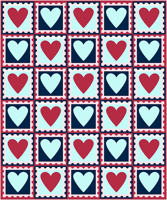 Digital mock up of quilt using free heart postage stamp quilt block