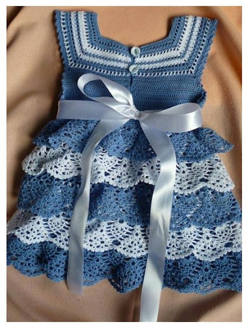 Gorgeous blue crochet dress for girls