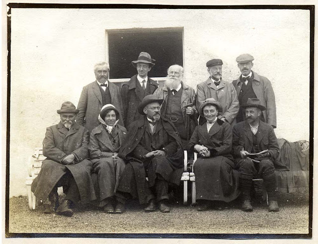 Photograph of the foreign visitors outside the Inchnadamph Hotel, Assynt Excursion held in September 1912, led by B.N. Peach and J. Horne. Excursion of the British Association for the Advancement of Science Meeting held in Dundee.