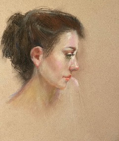 pastel drawing young woman profile looking down