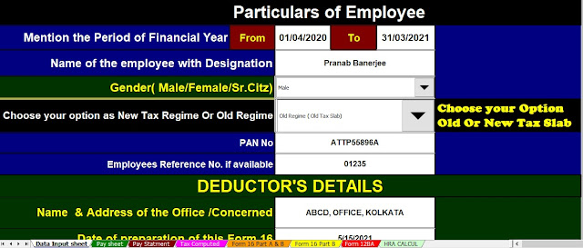 Income Tax Calculator for Private Employees for the F.Y.2020-21