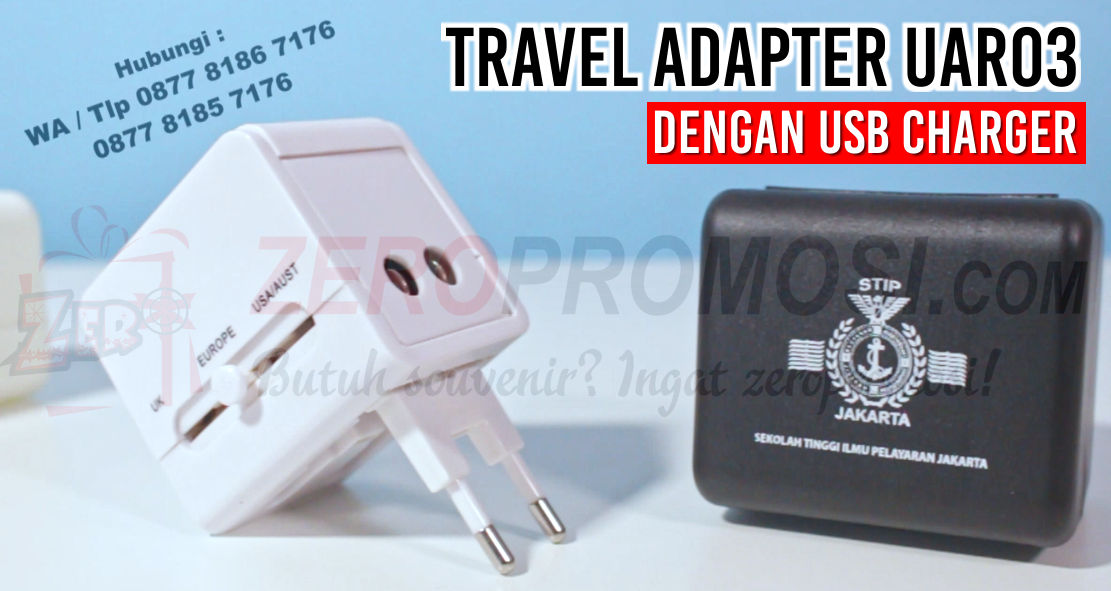 Universal Travel Adaptor Kotak with USB Charger UAR03, Universal Travel Adapter Promosi UAR03 Travel Adaptor UAR03, UNIVERSAL TRAVEL ADAPTER W/ USB MODULE, Konverter Travel murah