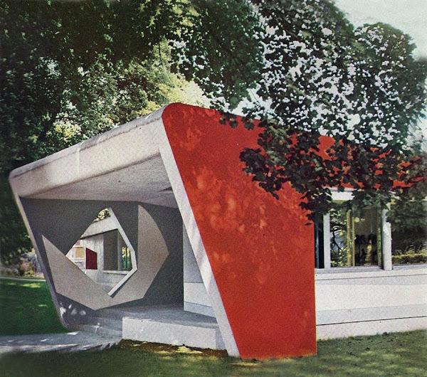 Ville d'Avray - La Maison de Demain - Lionel Mirabaud  Architecte: Lionel Mirabaud  Polychromie: Noël Emile-Laurent  Sculpture: André Bloc  Construction: 1955