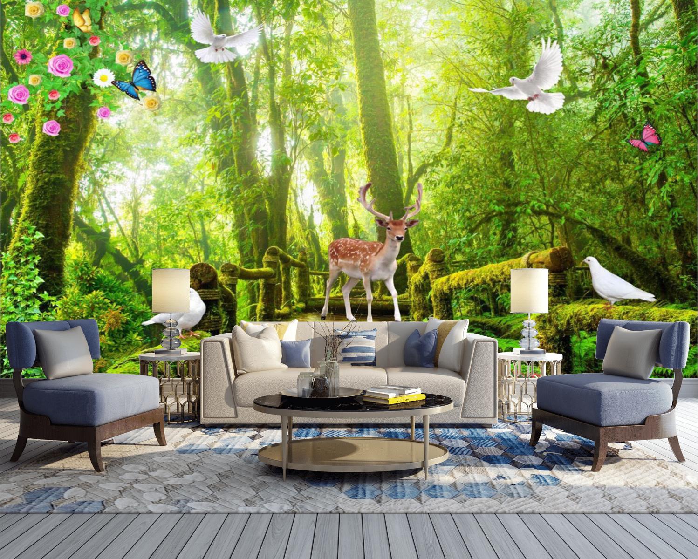Tranh Dán Tường 3D Phong Cảnh Rừng Cây  Đẹp