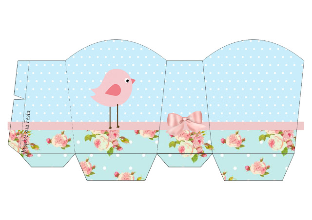 Caja para imprimir gratis de Pajarito Rosa en Fondo Shabby Chic.