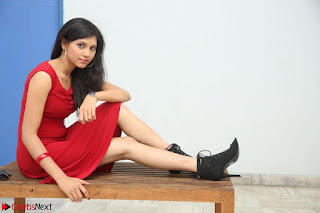 Mounika Telugu Actress in Red Sleeveless Dress Black Boots Spicy Pics 003.JPG