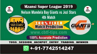 Who will win Today MSL 2019, 4th Match JOZ vs NMG 4th, Mzansi 2019 - MSL T20