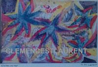 Étoiles de mer, tableau semi-abstrait par Clémence St-Laurent