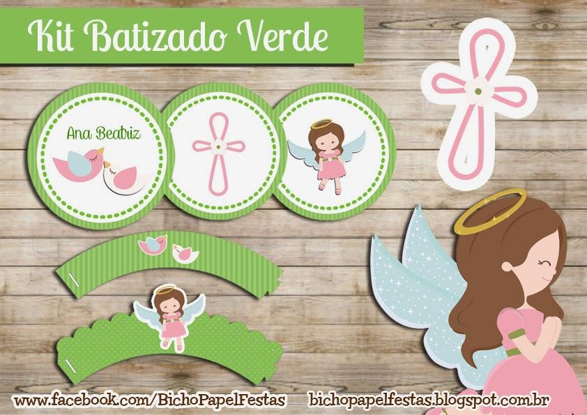 Kit Festa Digital Batizado Menina Verde