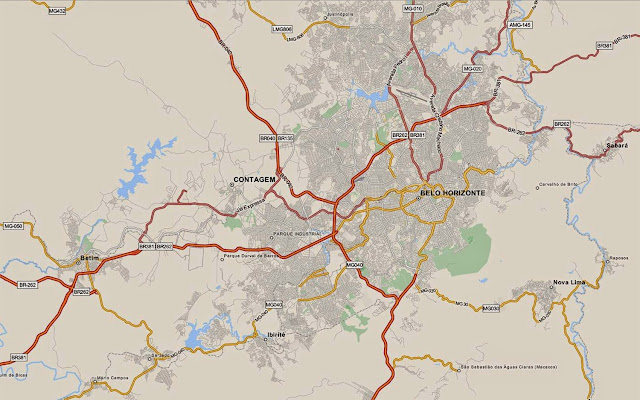 Mapa do anel viário de Belo Horizonte