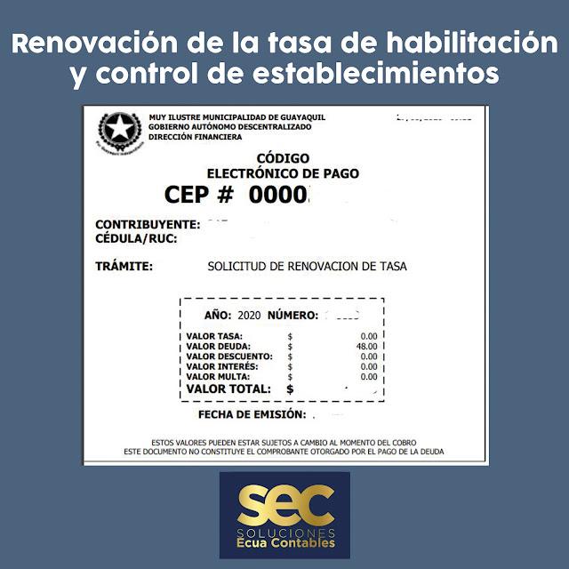 Pasos para la renovación de la tasa de habilitación y control de establecimientos [Guayaquil]