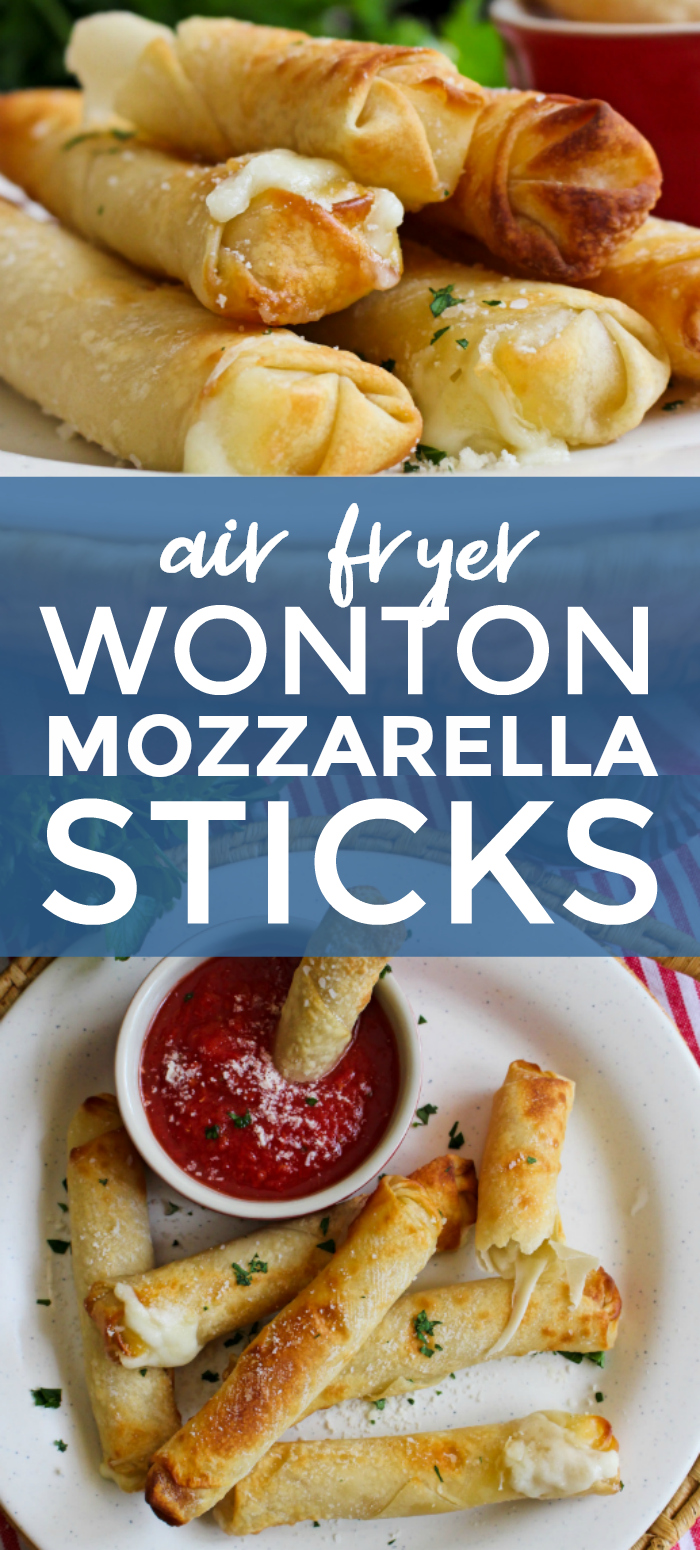 Air Fryer Wonton Mozzarella Sticks are a healthy alternative to fried mozzarella sticks at just 100 calories each! #airfryer #mozzarellasticks #appertizer