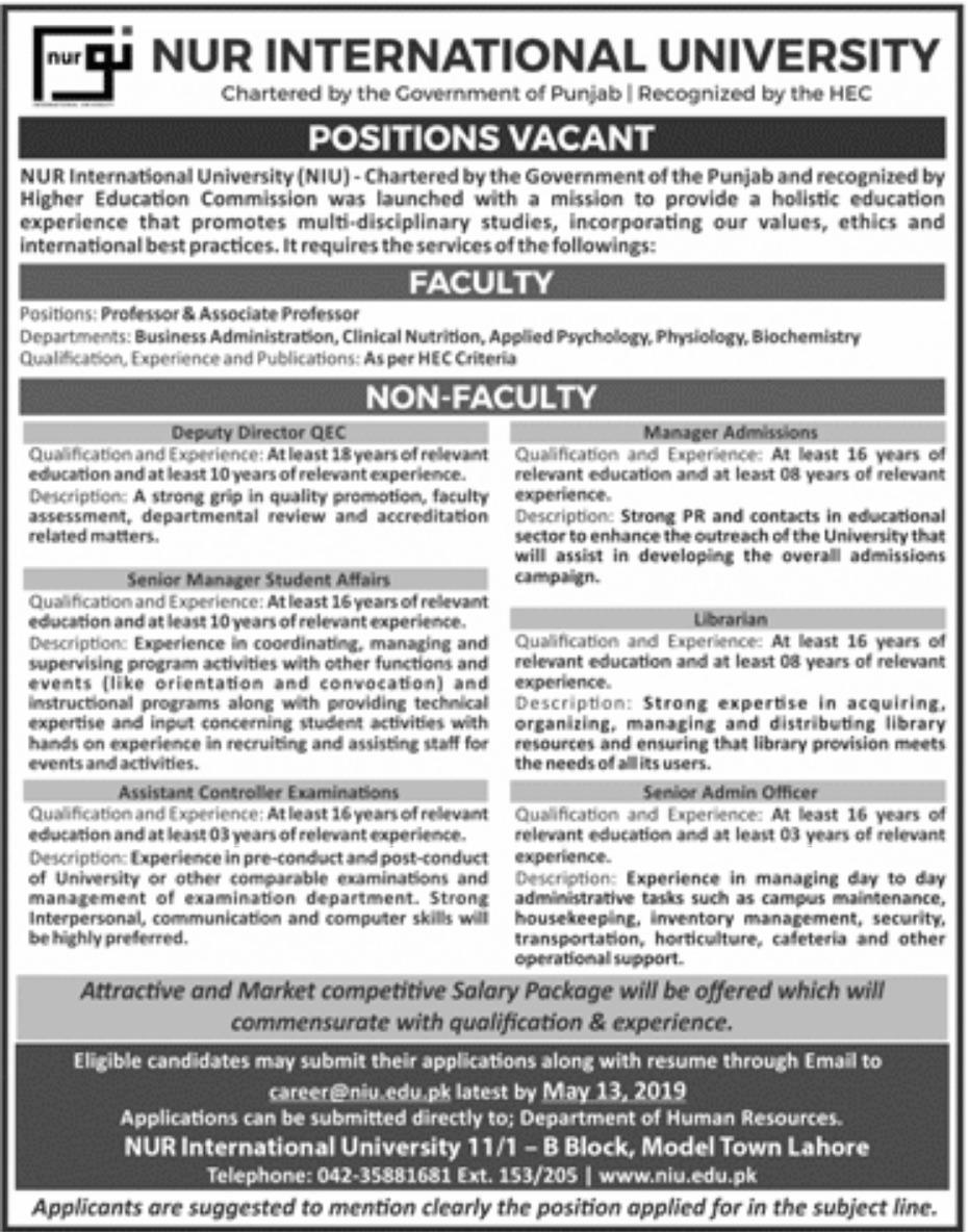 NIU Lahore Jobs 2019 | Nur International University Jobs